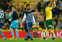 Charlton Athletic's Jay Dasilva applauds the fans after the game