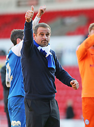 Peterborough United Manager, Dave Robertson gives the thumbs up to the Posh fans at full-time - Photo mandatory by-line: Joe Dent/JMP - Mobile: 07966 386802 - 14/03/2015 - SPORT - Football - Doncaster - Keepmoat Stadium - Doncaster Rovers v Peterborough United - Sky Bet League One