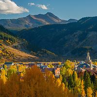 Fall colors light up the mountains around Silverton, Colorado.
