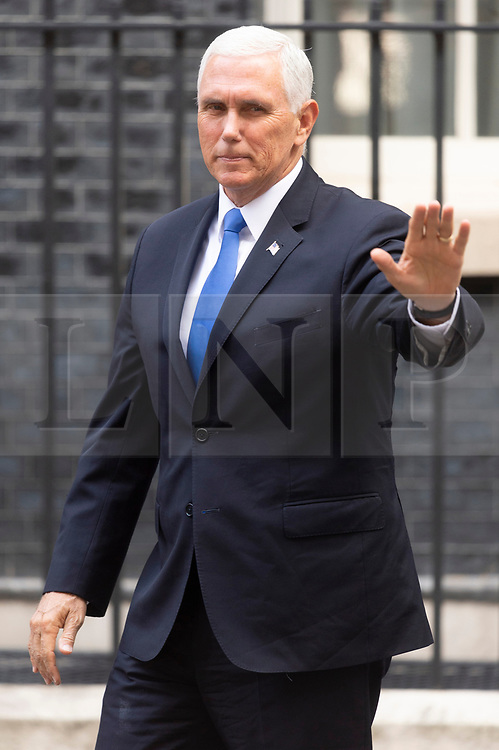 © Licensed to London News Pictures. 05/09/2019. London, UK. US Vice President Mike Pence meets British Prime Minister Boris Johnson at No. 10 Downing St for a meeting. Photo credit: Ray Tang/LNP