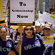 Immigrant rights supporters march in Los Angeles as part of May Day celebration calling for immigration reform and a path to citizenship for undocumented migrants. Please contact Todd Bigelow directly with your licensing requests.