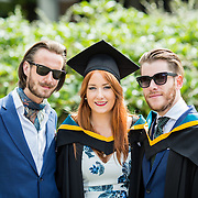 26.08.2016        <br /> University of Limerick Interfaculty Conferring Ceremony.<br /> <br /> Attending the conferring ceremony were, Graham Hendy, Dublin with Professional Master of Education (Music) graduates, Alize Comerford, Kilkennyy City and Liam Monagher, Dundalk Co. Louth. Picture: Alan Place.