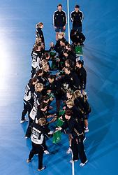 Players of Larvik and Krim before 3rd Main Round of Women Champions League handball match between RK Krim Mercator, Ljubljana and Larvik HK, Norway on February 19, 2010 in Arena Kodeljevo, Ljubljana, Slovenia. Larvik defeated Krim 34-30. (Photo by Vid Ponikvar / Sportida)