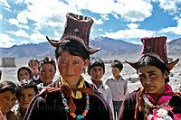 Women wearing traditional Perak hats in Leh,Ladakh,India.Photographed by Jayne Fincher