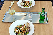 cold vegitarian pasta lunch with wine and water