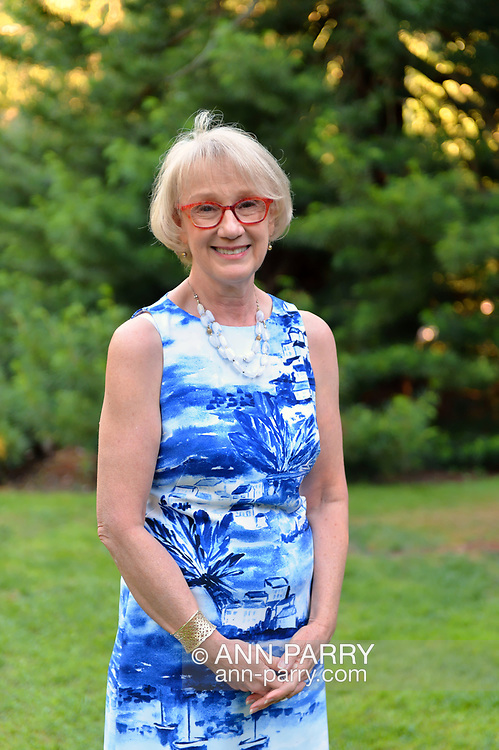 Old Westbury, New York, U.S. June 23, 2021. NANCY COSTOPOLUS, President and CEO of Old Westbury Gardens, attends its members only opening reception for its Great Pine Railway outdoor model train exhibit, which includes Long Island landmarks, and it runs until September 6.