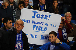 Chelse fans hold up a banner to Jose Mourinho showing their dissatisfction at a lack of action for Juan Mata before the first half of the match - Photo mandatory by-line: Rogan Thomson/JMP - Tel: 07966 386802 - 18/09/2013 - SPORT - FOOTBALL - Stamford Bridge, London - Chelsea v FC Basel - UEFA Champions League Group E