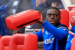 9 September 2017 -  Premier League - Stoke City v Manchester United - Bruno Martins Indi of Stoke City removes a headrest from the dugout - Photo: Marc Atkins/Offside