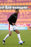 Scunthorpe United Jacob Bedeau (4) warming up full length portrait during the EFL Sky Bet League 2 match between Bradford City and Scunthorpe United at the Utilita Energy Stadium, Bradford, England on 1 May 2021.