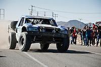 Ken Losch Trophy Truck arriving at finish of 2012 San Felipe Baja 250, San Felipe, Baja California, Mexico