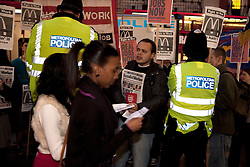 © Licensed to London News Pictures. 27/02/2012. London, U.K..Right to Work Demonstrate at McDonalds store on Oxford St. London today, against the government's controversial work experience scheme for jobless youth, workfare..Photo credit : Rich Bowen/LNP