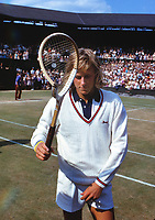 Tennis - 1973 Wimbledon Championships - Men's Singles<br /> <br /> Sweden's Bjorn Borg with a broken tennis racket on Centre Court.