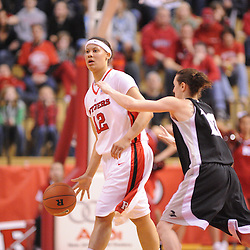 Feb 21, 2009; Piscataway, NJ, USA; Rutgers forward April Sykes (12) looks for instructions from the bench during the second half of Rutgers' 55-42 victory over Providence at the Louis Brown Athletic Center.