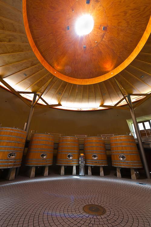 Sophia (wine vats room), Craggy Range Winery (Te Mata Peak in background), Havelock North, Hawkes Bay, North Island, New Zealand