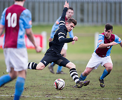 Edusport Academy Yann Gautheron. <br /> Whitehill Welfare 2 v 1 Edusport Academy, South Challenge Cup Quarter Final played 7/3/2015 at Ferguson Park, Carnethie Street, Rosewell.