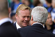 Everton Manager Ronald Koeman (l) and Stoke City Manager Mark Hughes shake hands prior to kick off. Premier league match, Everton v Stoke city at Goodison Park in Liverpool, Merseyside on Saturday 27th August 2016.<br /> pic by Chris Stading, Andrew Orchard sports photography.