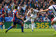 James McClean of West Bromwich Albion takes a shot for goal  outside the box. Barclays Premier League match, Crystal Palace v West Bromwich Albion at Selhurst Park in London on Saturday 3rd October 2015.<br /> pic by John Patrick Fletcher, Andrew Orchard sports photography.