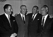 03/07/1963<br /> 07/03/1963<br /> 03 July 1963<br /> American executives of N.C.R. visit Dublin. Two top executives of the Dayton, Ohio, headquarters of the National Cash Register Company, one of the world's foremost manufacturers of cash registers, accounting machines and electronic computers, visiting Dublin. Picture shows Mr George Haynes (2nd right) Vice President International Operations N.C.R., Dayton Ohio, chatting to Mr D.K. Hughes (2nd left) Manager Overseas Factories, N.C.R.; D.H. Triggs, (left) Assistant Manager Accounting Machine Division N.C.R. and Mr S.J. Conway, (right) Managing Director, N.C.R. (Great Britain and Republic of Ireland) at the Gresham Hotel, Dublin.