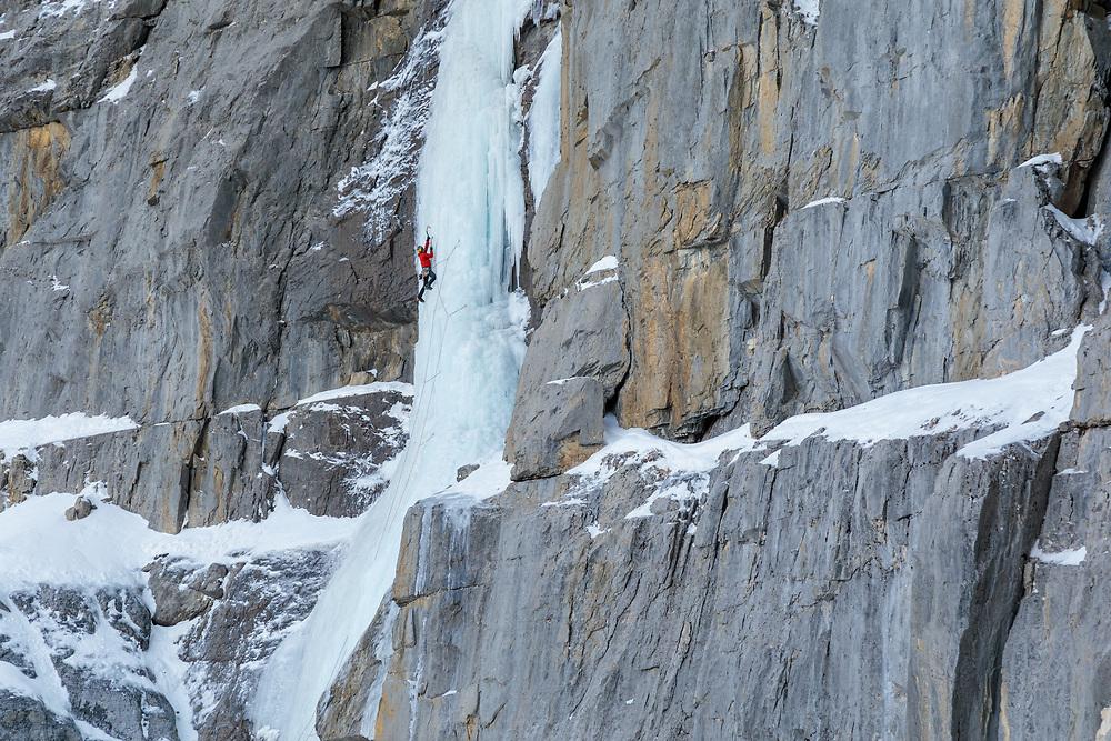 Seb Taborszky climbing Sacre Bleu in Banff National Park, Alberta, Canada