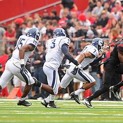 Oct 6, 2012: Rutgers Scarlet Knights wide receiver Brandon Coleman (17) runs from a trio of Connecticut Huskies defenders after a reception during second half NCAA college football action between the Rutgers Scarlet Knights and UConn Huskies at High Point Solutions Stadium in Piscataway, N.J.