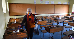 South Africa  -Cape Town - 28 May 2020 - Chairperson of the SGB Nomahlubi Dlula at Nomsa Mapongwana Primary in Mandela Park in Khayelitsha,putting masks and stationery for their students as they will be returning to classes on Monday.Their classes have been cleaned yesterday and now are just waiting for the grade 7 classes to resume on monday.photographer :Phando Jikelo/african News Agency(ANA)