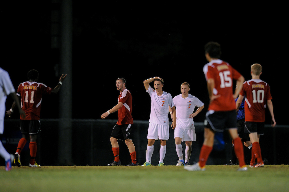 Sept. 15, 2012; Morrow, GA, USA; Clayton State men's soccer players Ado Junuzovic and Nomis Cisic against Flagler at CSU. Photo by Kevin Liles/kdlphoto.com