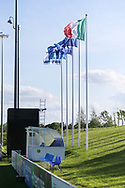 Israel, Italy and UEFA flags during the UEFA European Under 17 Championship 2018 match between Israel and Italy at St George's Park National Football Centre, Burton-Upon-Trent, United Kingdom on 10 May 2018. Picture by Mick Haynes.