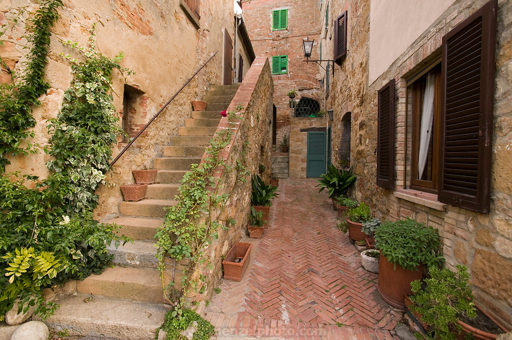 Old stone and brickwork in the walled city of Pienza, Italy. In 1996, UNESCO declared the town a World Heritage Site.