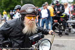 Ricky Bartel Portrait on the Motorcycle Cannonball coast to coast vintage run. Stage-1 (145-miles) from Portland, Maine to Keene, NH. Saturday September 8, 2018. Photography ©2018 Michael Lichter.