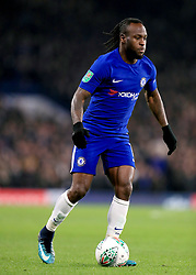 """Chelsea's Victor Moses during the Carabao Cup Semi Final, First Leg match at Stamford Bridge, London. PRESS ASSOCIATION Photo. Picture date: Wednesday January 10, 2018. See PA story SOCCER Chelsea. Photo credit should read: Mike Egerton/PA Wire. RESTRICTIONS: EDITORIAL USE ONLY No use with unauthorised audio, video, data, fixture lists, club/league logos or """"live"""" services. Online in-match use limited to 75 images, no video emulation. No use in betting, games or single club/league/player publications."""