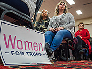 16 JANUARY 2020 - DES MOINES, IOWA: People listen Kayleigh McEnany speak at the Women for Trump rally in Airport Holiday Inn in Des Moines. About 200 women attended the event, which featured Lara Trump, Mercedes Schlapp, and Kayleigh McEnany, surrogates on the campaign trail for President Donald Trump.           PHOTO BY JACK KURTZ