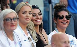 Megan Davison, girlfriend of England goalkeeper Jordan Pickford (second left) Annie Kilner, girlfriend of England's Kyle Walker (second right) and Rebekah Vardy, wife of England's Jamie Vardy (right) during the FIFA World Cup Group G match at Kaliningrad Stadium.