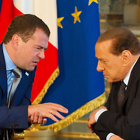 MILAN, ITALY - JULY 23:    Italian Prime Minister Silvio Berlusconi in conversation with Russian President Dimitry Medvedev ahead of the press conference at Palazzo della Provincia on July 23, 2010 in Milan, Italy. Italian Prime Minister Berlusconi and Russian Prime Minister Medvedev will discuss issues related to Russia's relations with NATO and the EU, energy security, and the development of bilateral trade and economic relations. .***Agreed Fee's Apply To All Image Use***.Marco Secchi /Xianpix. tel +44 (0) 207 1939846. e-mail ms@msecchi.com .<br />  www.marcosecchi.com