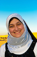 Young Egyptian woman, Kom Ombo archaeological site, Nile River, Egypt