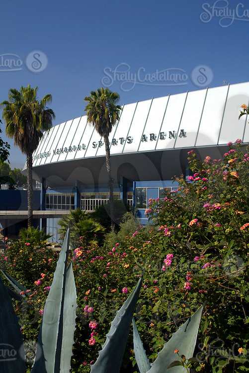 May 10, 2003; Exterior of the Los Angeles Sports Arena surrounded by foilage. 3939 South Figueroa Street Enterance. Built in 1959, 100% publicaly financed for $7 Million. Current home court for NCAA USC Trojans. Former home of the LA Clippers NBA from 1984-1999, NHL LA Kings 1967, WHA LA Sharks, NBA LA Lakers 1960-1967, RHI LA Blades. Seats about 16,000 for hockey and basketball.