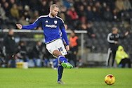 Matthew Connolly of Cardiff City   during the Sky Bet Championship match between Hull City and Cardiff City at the KC Stadium, Kingston upon Hull, England on 13 January 2016. Photo by Ian Lyall.