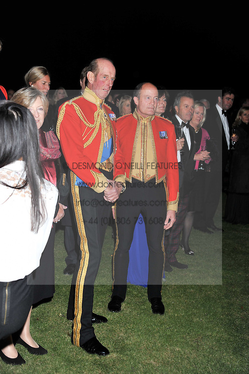 Left to right, HRH The DUKE OF KENT and BRIGADIER SIMON ALLEN at a dinner in aid of Caring For Courage - The Royal Scots Dragoon Guards Afghanistan Welfare Appeal held at The Royal Hospital Chelsea, London SW3 on 20th October 2011.