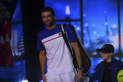 November 16, 2017 - London, England, United Kingdom - Marin Cilic of Croatia walks out on court for his third and final round robin match against Roger Federer of Switzerland  during the Nitto ATP World Tour Finals at O2 Arena on November 16, 2017 in London, England. (Credit Image: © Alberto Pezzali/NurPhoto via ZUMA Press)