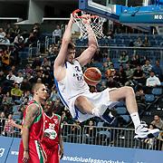 Anadolu Efes's Stanko Barac (R) during their Turkish Basketball League match Anadolu Efes between Pinar Karsiyaka at Arena in Istanbul, Turkey, Saturday, November 26, 2011. Photo by TURKPIX