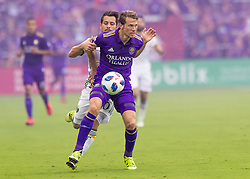 April 8, 2018 - Orlando, FL, U.S. - ORLANDO, FL - APRIL 08: Orlando City defender Jonathan Spector (2) possesses the ball during the MLS soccer match between the Orlando City FC and the Portland Timbers at Orlando City SC on April 8, 2018 at Orlando City Stadium in Orlando, FL. (Photo by Andrew Bershaw/Icon Sportswire) (Credit Image: © Andrew Bershaw/Icon SMI via ZUMA Press)