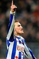 HEERENVEEN - Voetbal, SC Heerenveen -VVV , Eredivisie,  Abe Lenstra stadion, seizoen 2011-2012, 24-03-2012 SC Heerenveen speler Bas Dost is blij met de 4-1.