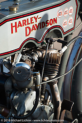 Bill Page's single-cylinder 1915 Harley-Davidson class-2 motorcyle on display at the Dodge City finish line during the Motorcycle Cannonball Race of the Century. Stage-8 from Wichita, KS to Dodge City, KS. USA. Saturday September 17, 2016. Photography ©2016 Michael Lichter.