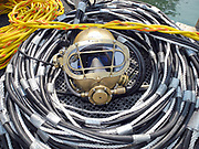 Miller diving helmet with umbilical at Dutch Springs, Scuba Diving Resort in Bethlehem, Pennsylvania