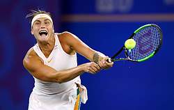 WUHAN, Sept. 29, 2018  Aryna Sabalenka of Belarus returns a shot during the singles final match against Anett Kontaveit of Estonia at the 2018 WTA Wuhan Open tennis tournament in Wuhan, central China's Hubei Province, on Sept. 29, 2018. Aryna Sabalenka won 2-0 and claimed the title. (Credit Image: © Cheng Min/Xinhua via ZUMA Wire)