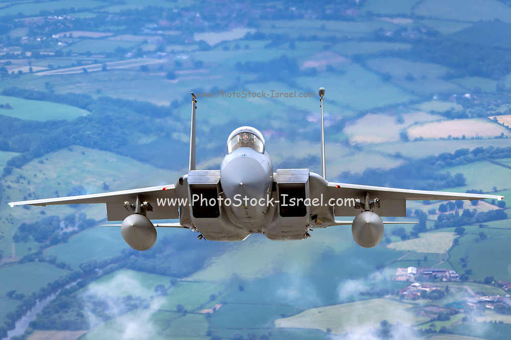 United States Air Force (USAF) McDonnell Douglas F-15 Eagle in flight. Photographed at Royal International Air Tattoo (RIAT)