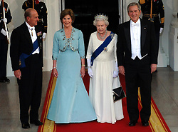 File photo dated 07/05/07 of the Duke of Edinburgh and Queen Elizabeth II arriving for a state dinner hosted by the then President of the USA, George W Bush (right) and wife Barbara at the White House, Washington DC, on the sixth day of the Queen's state visit to the USA. The Duke of Edinburgh has died, Buckingham Palace has announced. Issue date: Friday April 9, 2020.. See PA story DEATH Philip. Photo credit should read: Fiona Hanson/PA Wire