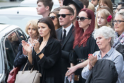 © Licensed to London News Pictures . 30/06/2017 . Stockport , UK . Coronation Street stars , including Helen Worth , Faye Brookes , Kym Marsh and Antony Cotton outside the Town Hall after the service . The funeral of Martyn Hett at Stockport Town Hall . Martyn Hett was 29 years old when he was one of 22 people killed on 22 May 2017 in a murderous terrorist bombing committed by Salman Abedi, after an Ariana Grande concert at the Manchester Arena . Photo credit : Joel Goodman/LNP