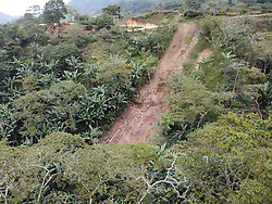 A landslide on the coffee farm of COCASJOL member Hector Hermilo Perdomo, near Colinas, Santa Bárbara, Honduras.