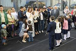 September 1, 2017 - Kiev, Ukraine - Schoolchildren and their parents wait for a ceremony to mark the start of the school year in Kyiv, Ukraine September 1, 2017. (Credit Image: © Maxym Marusenko/NurPhoto via ZUMA Press)