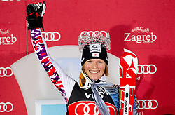 """Winner SCHILD Marlies (AUT) celebrates with crown as """"Snow Queen 2012"""" at flower ceremony after the 2nd Run during  5th Ladies' Slalom at FIS Alpine Ski World Cup  """"Vip Snow Queen Trophy"""" 2012 on January 3, 2012 at Red Run course, Sljeme, Zagreb, Croatia.  (Photo By Vid Ponikvar / Sportida.com)"""